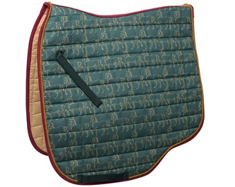 Design Saddle rack dark green, green, red ' horse March ' with horse-pressure of lucky Hucke-dressage O. Jumping-anatomic fit-Cotton