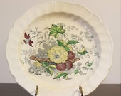 Vintage Cake Plate Chop Plate Serving Plate The Kirkwood Multicolor by Royal Doulton Basket with grapes, plums, yellow flower