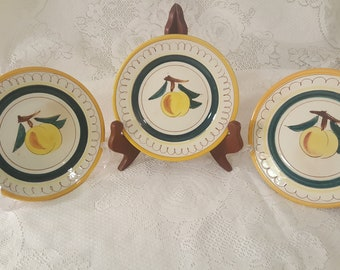 Vintage Stangl Fruit Collection Peach Bread and Butter Plates