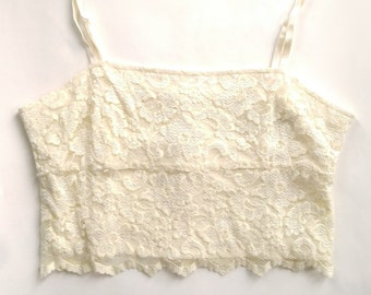 Vintage Joseph Ribkoff Ivory Lace Crop Top with Adjustable Straps, Size 10, Bustier, Crop Top, 90s Ribkoff, Ivory Bustier