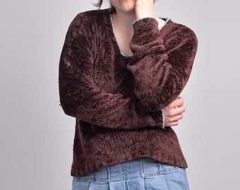 Vintage 90s Purple Chenille Knit Cardigan