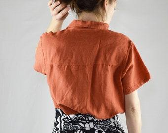 4f2f7dae287846 Y2K Vintage Orange Linen Short Sleeve Blouse Size Medium