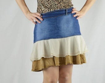 5c16d4616 90s Vintage Blue Denim and Tan Tiered Skirt Size 6-7