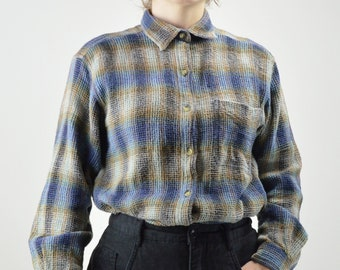 NEU retro vintage 50er jahre indie Kariert vtg FLANELLHEMD 60er lumberjack Blau