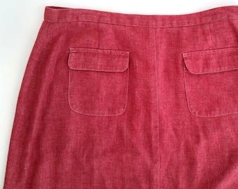 Women's Handmade Red Twill High Waisted Maxi Skirt with Pockets, US Size 8, Long Skirt, Maxi Skirt, Twill Skirt, High Waisted Skirt