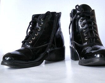 Vintage Black Boots Patent Leather Boots Size 7 Lace Up Boots Martino Canada Black Ankle Boots Chelsea Boots Pleather Boots Vintage Footwear