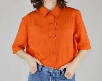 0be48c6495afe9 Y2K Vintage Bright Orange Short Sleeve Blouse Size 12