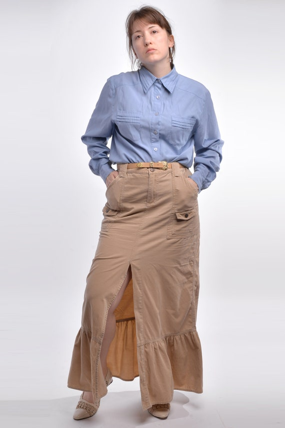 Vintage Beige Corduroy Flared Maxi Skirt Size Medi