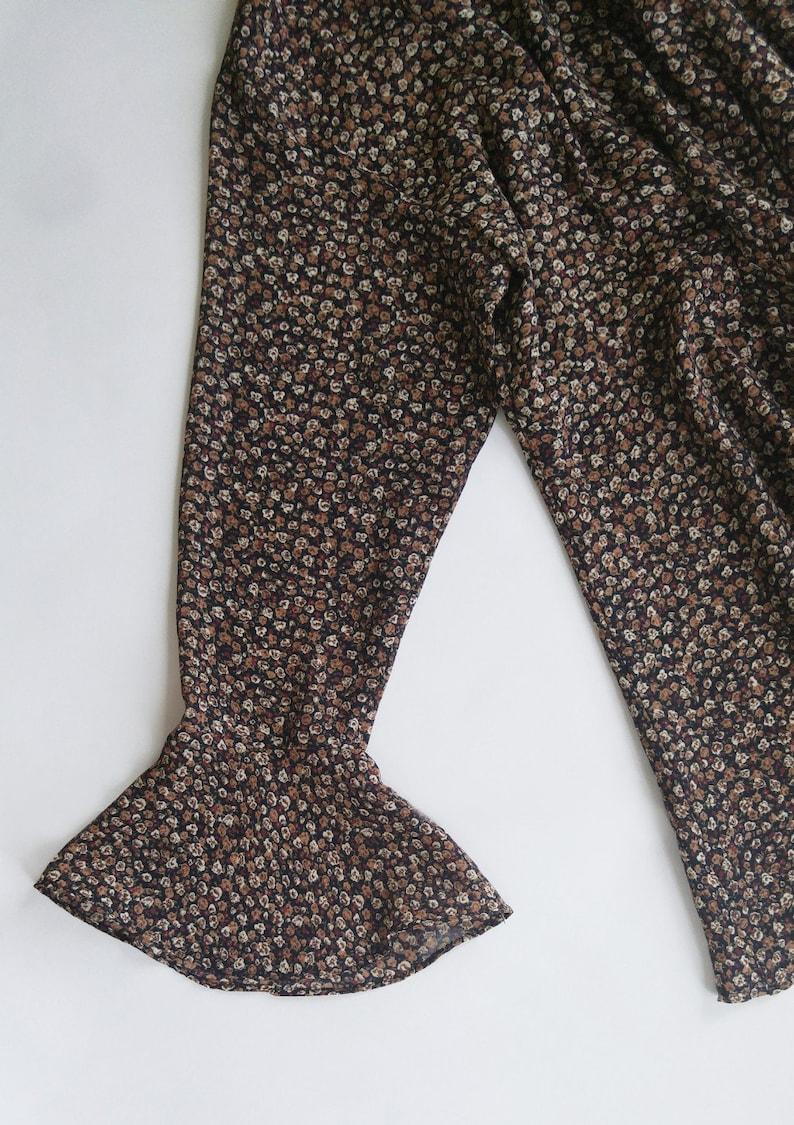 90s Vintage Long Brown Boho Floral Tunic Size 7-8