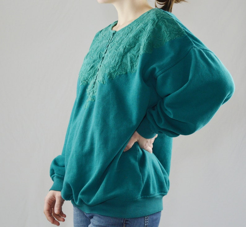 Vintage Green Oversized Cotton Sweater Size XL