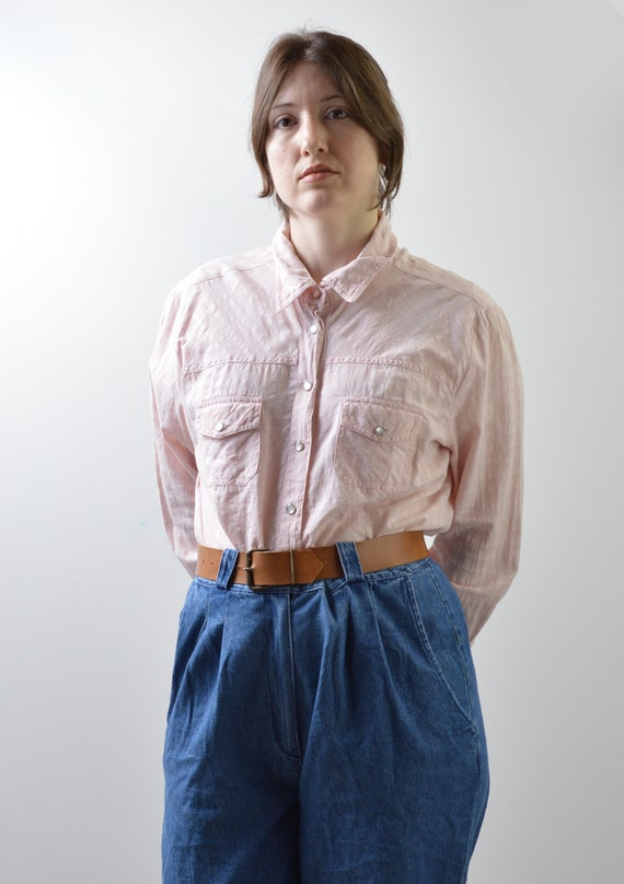 Vintage Sheer Pink Muslin Cotton Shirt Size Large