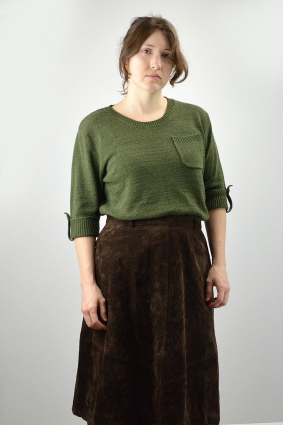 Vintage Forest Green Knit Blouse Size Medium / For