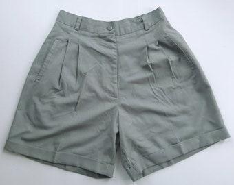 Women's Khaki Green High Waisted Shorts, R.D. International, US 6, High Waisted Shorts, Rayon, Pleated Shorts, Khaki Shorts