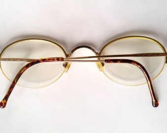 5660158cf2b26 Vintage Oval Prescription Eyeglasses Gold and Tortoise Look