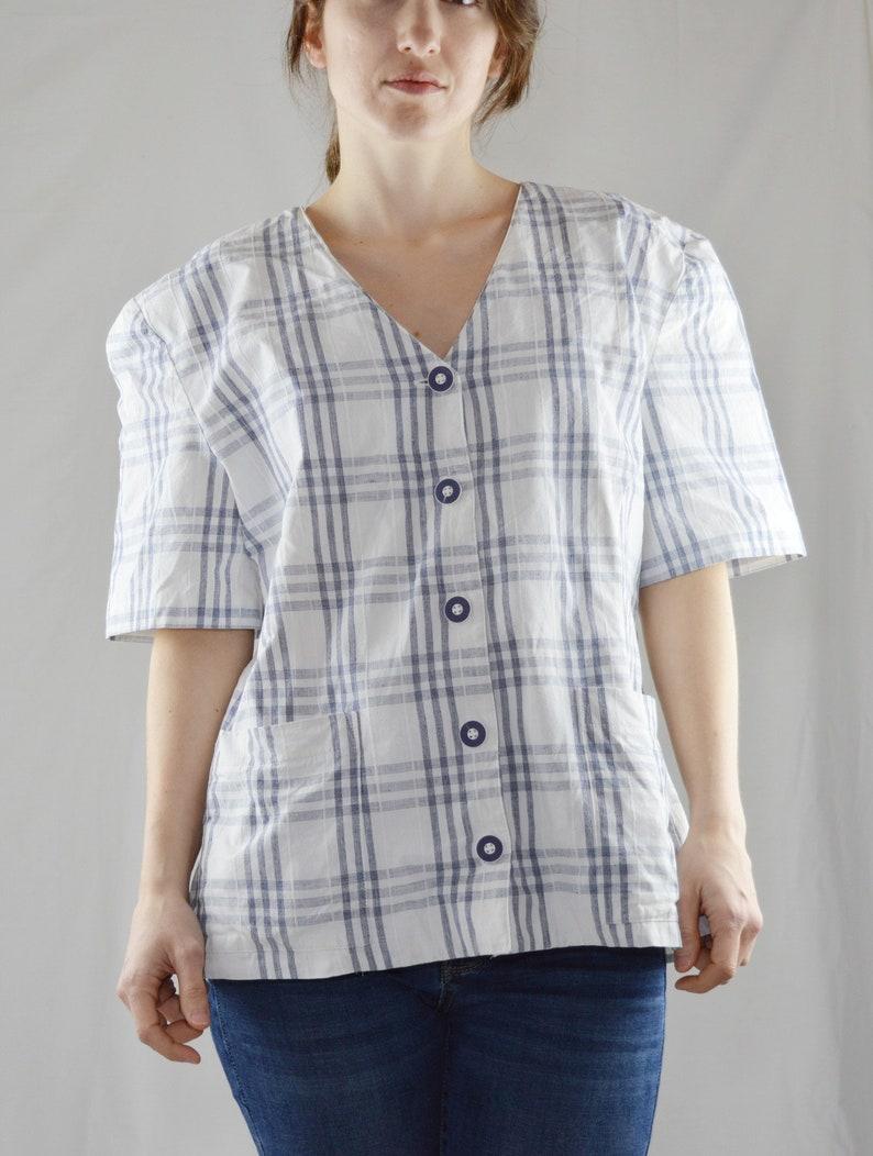 90s Vintage White Windowpane Plaid Blouse Size 11  Vintage Plaid Button Up Shirt