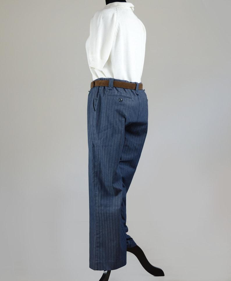 Vintage Striped Straight Leg Denim Dress Pants Size Medium
