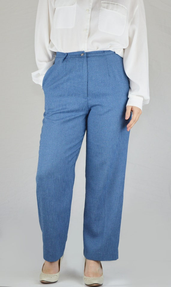 Vintage Blue Tapered Chambray Dress Pants Size XS