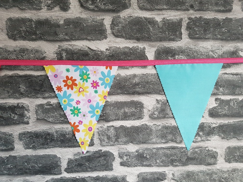 8ft Handmade Ready Made Bunting Pinked Edges Single Ply Yellow Gingham Plain Blue /& Pink Big Bright Bold Flowers SKU 012
