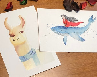 Original set of two postcards of a nice llama and a girl on a whale original illustrations in A6 format