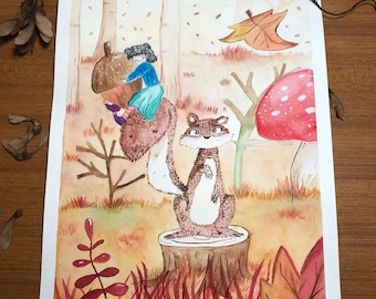 Original illustration print of a squirrel and a little girl gnome in an autumn forest for decorating your home or as a present