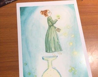 Print of an original illustration of Marie Skłodowska-Curie woman scientist winner of two Nobel prizes perfect for decoration
