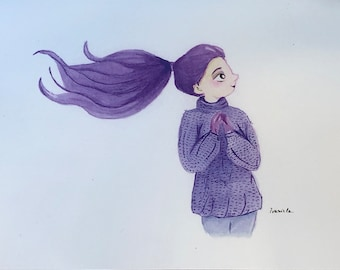 Original watercolor illustration Print of cute purple hair girl perfect for decorate your home or personal place