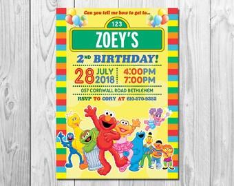 Sesame Street Invitation Birthday Card Invite Printable