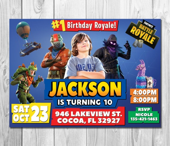 fortnite birthday invitation fortnite photo birthday | etsy