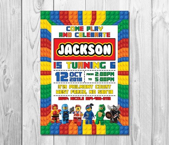 Lego Invitation Invite Party Birthday