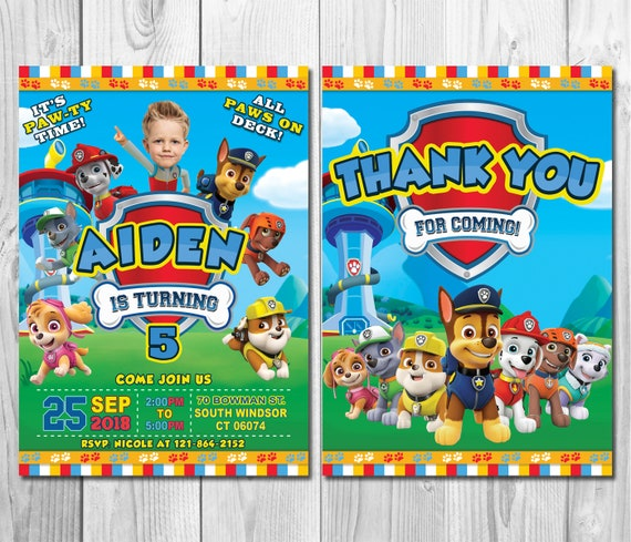 Paw Patrol Birthday Invitation With Custom Face