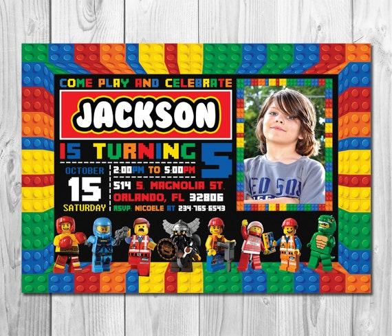 Lego Invitation Photo Birthday