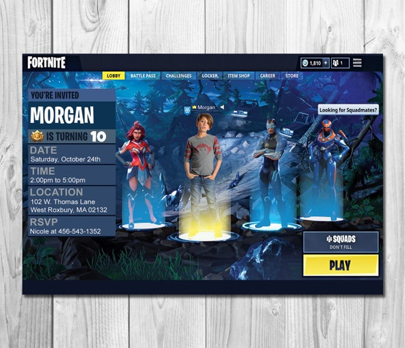 Fortnite Invitation Fortnite Photo Birthday Invitation | Etsy