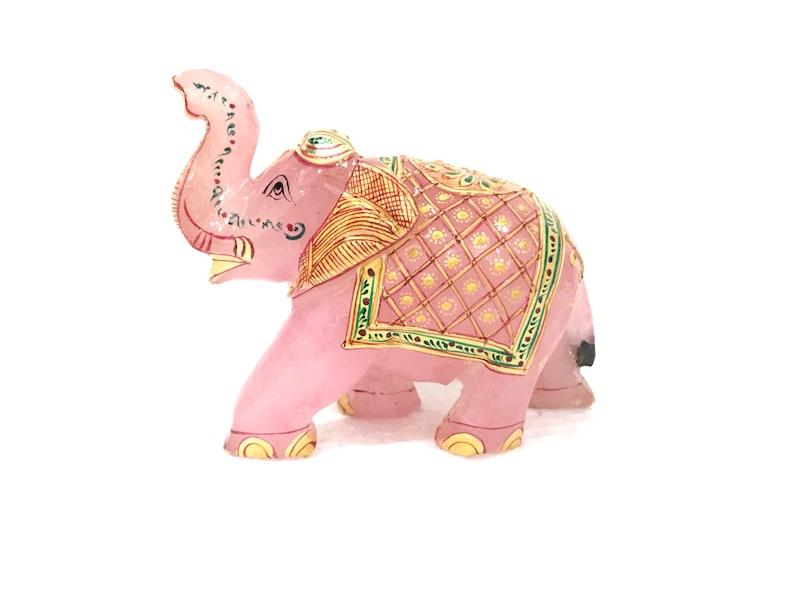 Hand Carved Rose quartz elephant