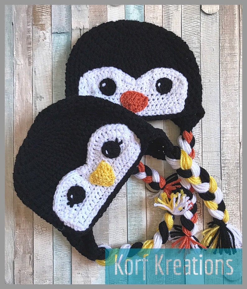 Handmade Boy or Girl Baby Penguin Hat Ear Flap Beanie with Tassels Customizable Preemie to Adult