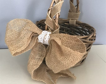 Burlap Ring Bearer Pillow and Flower Girl Basket with Burlap and Lace