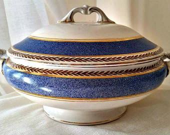 Wedgwood Imperial porcelain vintage tureen, blue and gold vintage tureen, wedgwood tureen, imperial porcelain serving dish with lid