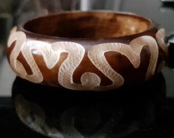 Wood Bracelet Vintage Bangle Vintage Wood Bangle Boho Bangle Square Bangle Natural Jewelry Tribal Bracelet Ethnic Bracelet