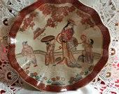Antique Japanese handpainted Geisha girl Imari bowl with fluted detail, 19th Century Imari bowl, red gold oriental bowl, vintage Imari gift