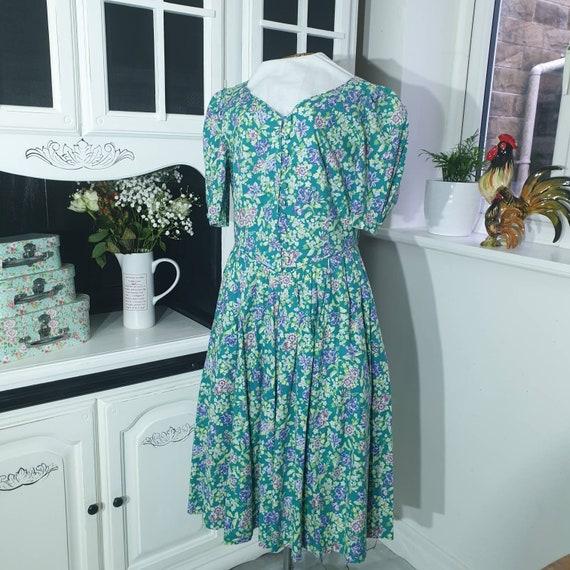 Vintage Laura Ashley Floral  Green Print Dress 198