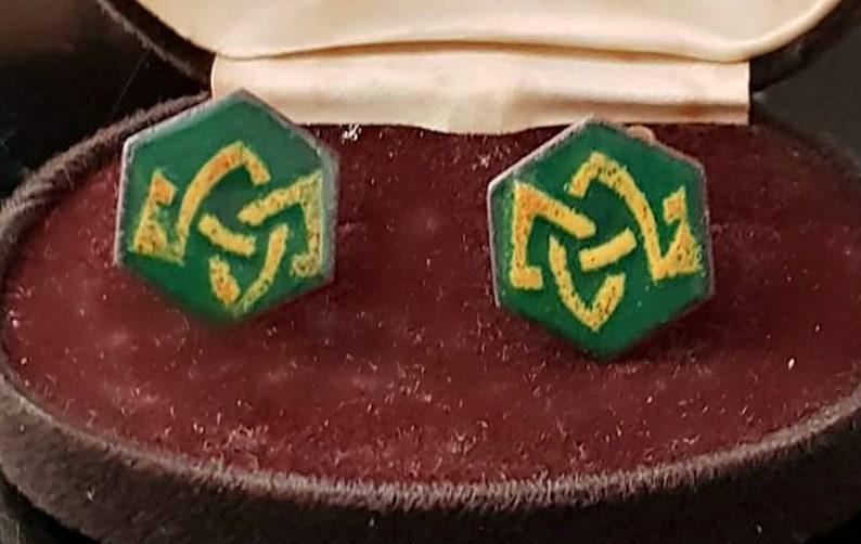 Vintage hexagonal Enamel green cuff links