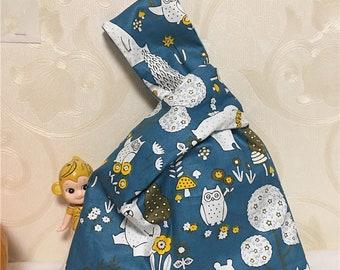 Cotton Twill Wrap Knot Wrist Bag Key Phone Wristlet Pouch Pink Gray  Bear Head W21
