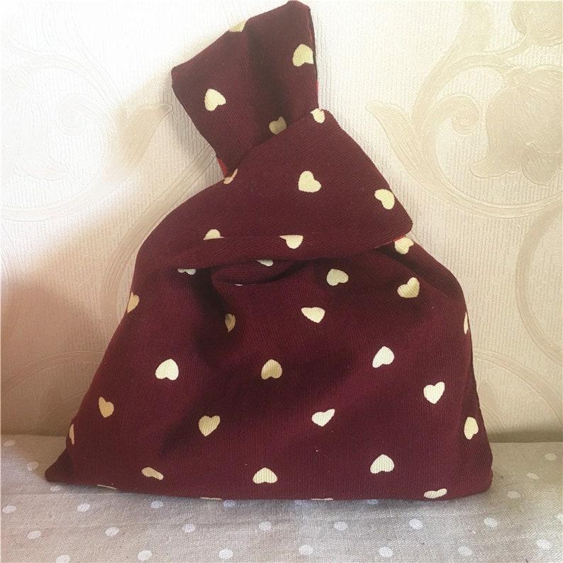 Handmade Corduroy Wrap Knot Wrist Bag Key Phone Lining Pouch Print Love heart W02
