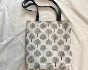 Cotton Linen 2 Sided Eco Shopping Tote Shoulder Bag Round Fortune Tree L23