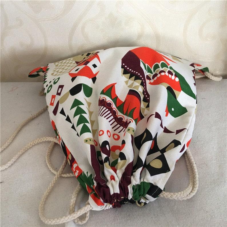 Cotton Canvas Drawstring Backpack Student Gym Shoes Bag Egypt Style Elephant Bear Owl B07