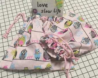 3pcs Cotton Linen Drawstring Bags Party Gift Bags Multi-purpose Pouch Colorful Owls Pink Bottom P03