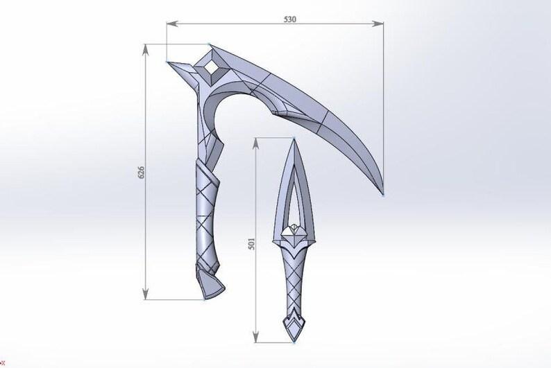 STL model  K/DA Akali Kama blade and kunai (full weapon pack)  K/DA Ahri   League of Legends
