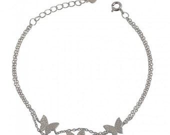 sterling silver 925 bracelet, three butterflies, spring mood