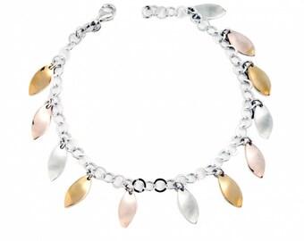 sterling silver 925 bracelet, leaves details, spring mood