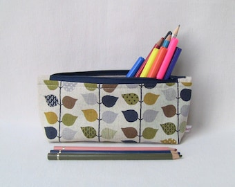 bag organiser for colouring lovers pencils case with small autumn leaves washable zip cotton case children gift