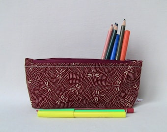 bordeaux pencils case with small dragonflies motif, zip cotton case, children gift, bag organiser, colouring lovers, cotton fabric, washable